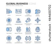 simple set of global business... | Shutterstock .eps vector #464600702