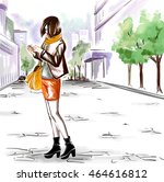 young stylish girl with her... | Shutterstock .eps vector #464616812