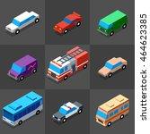 vehicles icons set 2. 3d... | Shutterstock .eps vector #464623385