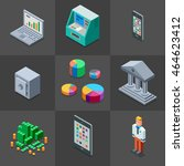 banking icons set. 3d isometric ...   Shutterstock .eps vector #464623412
