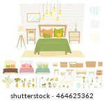 bedroom interior with furniture ... | Shutterstock .eps vector #464625362