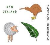 New Zealand Symbols. A Set Of...