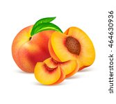 whole peach fruit and his... | Shutterstock .eps vector #464630936