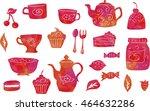 tea party set   vector... | Shutterstock .eps vector #464632286