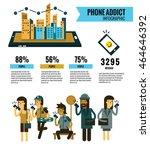 smartphone addict info graphic. ... | Shutterstock .eps vector #464646392