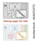 coloring pages for kids. lunch... | Shutterstock .eps vector #464651072