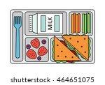 school lunch with a sandwich ... | Shutterstock .eps vector #464651075