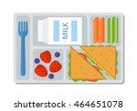 school lunch with a sandwich ... | Shutterstock .eps vector #464651078