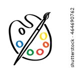art palette with a brush logo.... | Shutterstock .eps vector #464690762