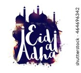 stylish text eid al adha with... | Shutterstock .eps vector #464696342