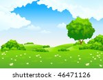 green landscape with hills and... | Shutterstock .eps vector #46471126