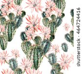 watercolor pattern with cactus .... | Shutterstock . vector #464724416