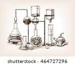 chemical laboratory still life... | Shutterstock .eps vector #464727296