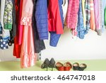 young woman choosing red dress... | Shutterstock . vector #464747018