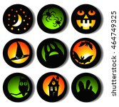 halloween round icons set | Shutterstock .eps vector #464749325