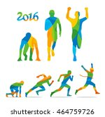 running step. runner from start ... | Shutterstock .eps vector #464759726
