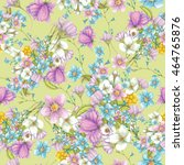seamless pattern of wildflowers ... | Shutterstock . vector #464765876