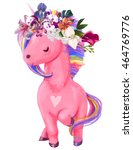 pink unicorn with floral wreath | Shutterstock . vector #464769776