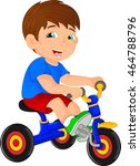 funny little child on tricycle | Shutterstock .eps vector #464788796