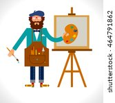 artist painter at work easel... | Shutterstock .eps vector #464791862