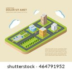 flat isometric city | Shutterstock . vector #464791952