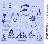 nautical set with ships and... | Shutterstock .eps vector #464798612