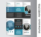 blue circle business trifold ... | Shutterstock .eps vector #464801906