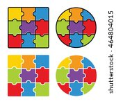 jigsaw puzzle   blank simple... | Shutterstock .eps vector #464804015