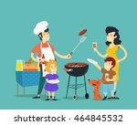 family on bbq. vector... | Shutterstock .eps vector #464845532