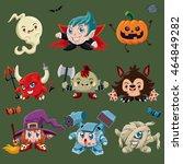vintage halloween poster design ... | Shutterstock .eps vector #464849282