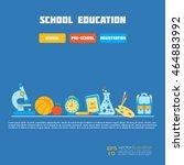back to school trendy flat icon ... | Shutterstock .eps vector #464883992