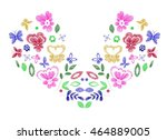 floral design   embroidery... | Shutterstock .eps vector #464889005