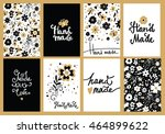 set of floral hand made card ... | Shutterstock .eps vector #464899622