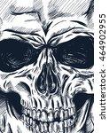 hand drawn anatomy skull with... | Shutterstock .eps vector #464902955