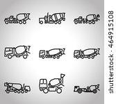 concrete mixer flat line icons... | Shutterstock .eps vector #464915108