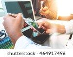 two colleague web designer...   Shutterstock . vector #464917496