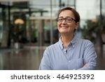 woman smiling looking at the... | Shutterstock . vector #464925392