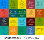 sports thin line vector icons... | Shutterstock .eps vector #464933462