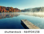 Autumn Foliage And Fog Lake In...