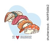 sushi set  color vector... | Shutterstock .eps vector #464956862
