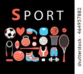 graphic sports set of various... | Shutterstock .eps vector #464957882
