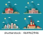 set of icons of urban life.... | Shutterstock .eps vector #464962946
