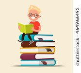 boy with glasses reading a book ... | Shutterstock .eps vector #464966492