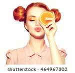 beauty model girl holding juicy ... | Shutterstock . vector #464967302
