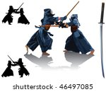 Two kendo fighters in traditional clothes make exercise with bamboo sticks. On the right side japanese katana sword. Vector color illustration.