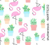 flamingo with cacti in cute... | Shutterstock .eps vector #464975252