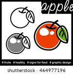 simple set of stylized apple... | Shutterstock .eps vector #464977196