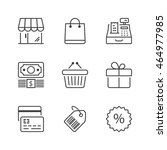 store icons set  thin line ... | Shutterstock .eps vector #464977985