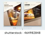 brown brochure design or... | Shutterstock .eps vector #464982848