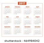 calendar for 2017 year on white ... | Shutterstock .eps vector #464984042